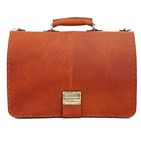 کیف داری چرمی طبیعی مردانه تک قفل دو طبله