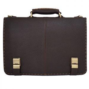 کیف اداری چرم طبیعی مردانه دو قفل لپ تاپی