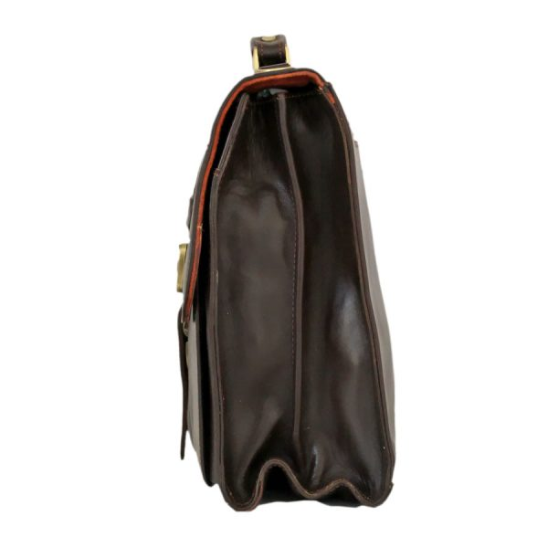 کیف چرم مردانه سگکدار قهوه ای سوخته