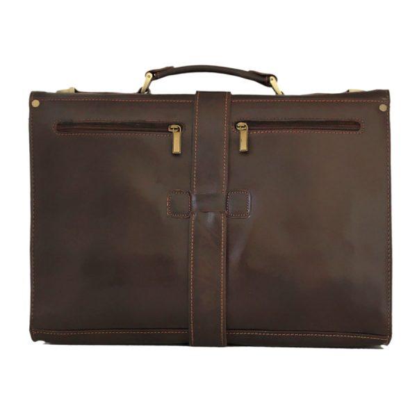 کیف چرم مردانه سگک دار قهوه ای سوخته
