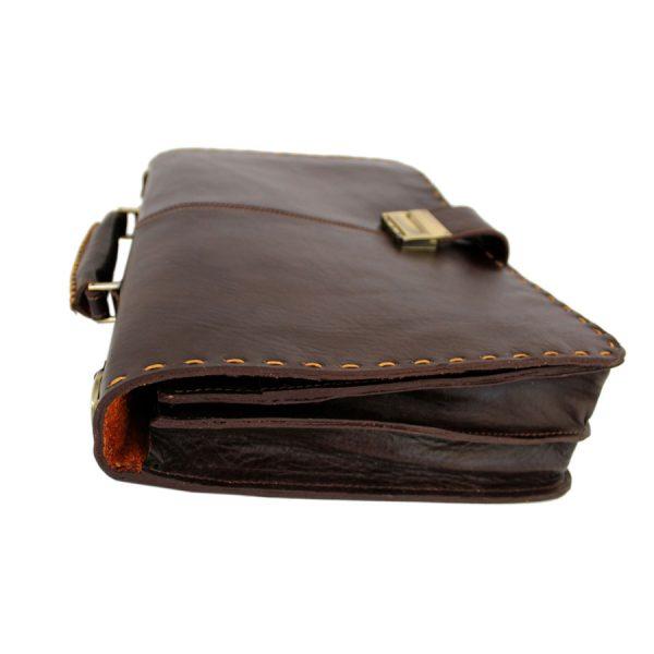 کیف چرم قهوه ای تیره تک قفل