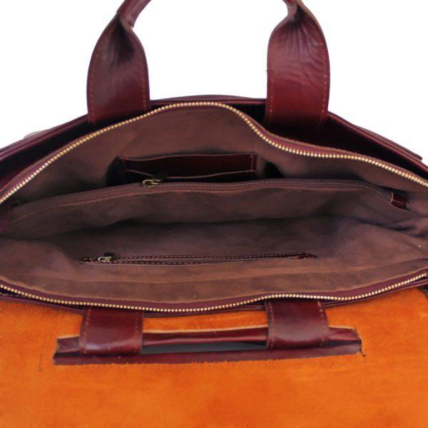 کیف اداری دو دسته چرم زرشکی