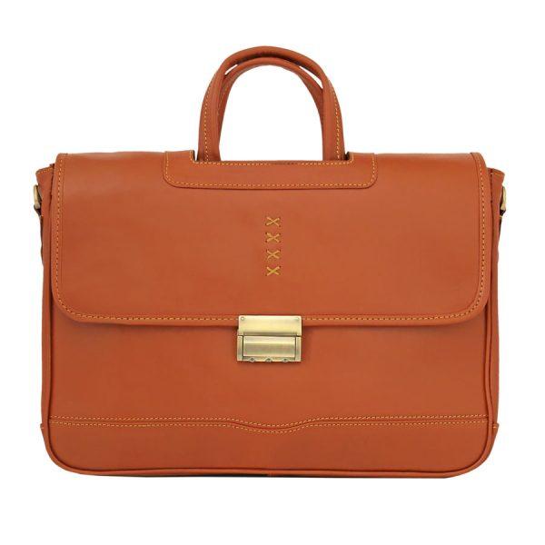 کیف زنانه چرمی دو دسته عسلی