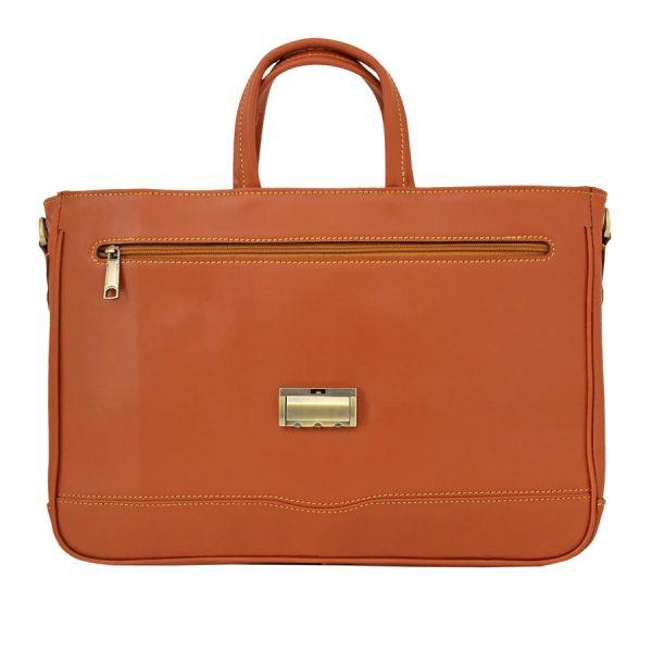 کیف چرم زنانه عسلی دو دسته