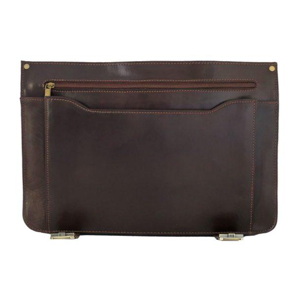 کیف دو قفل چرم مردانه قهوه ای سوخته