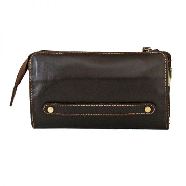 کیف دوشی پاسپورتی چرم طبیعی قهوه ای سوخته