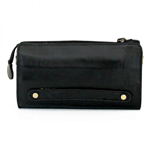 کیف دوشی پاسپورتی چرم طبیعی مشکی