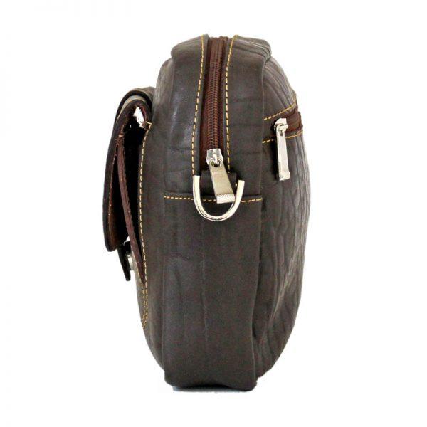کیف دوشی چرم قهوه ای تیره مردانه و زنانه