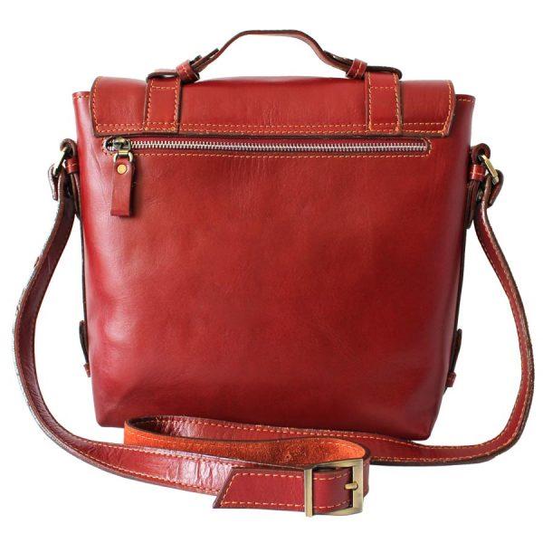 کیف دوشی دو قفل چرم قرمز