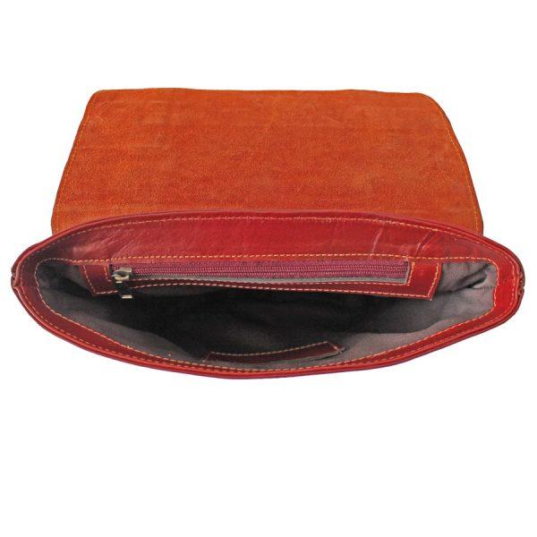 کیف دوشی زنانه چرم قرمز