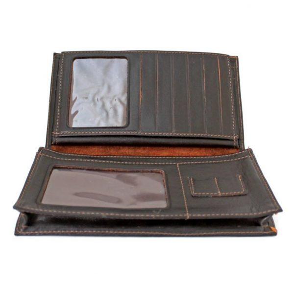 کیف پول 3 لت مدیران چرم مردانه قهوه ای سوخته