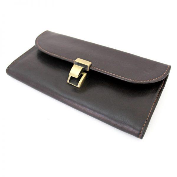 کیف پول چرم زنانه قفل ناخنی قهوه ای
