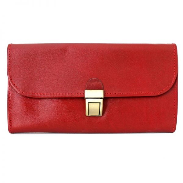 کیف پول چرم زنانه قفل ناخنی قرمز
