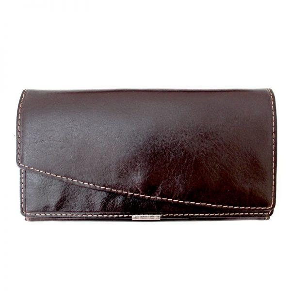کیف پول چرم زنانه دو لبه قهوه ای