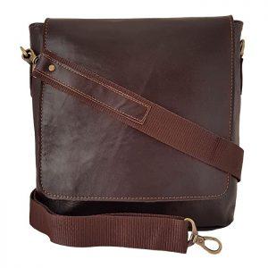 کیف دوشی اسپرت چرم طبیعی مردانه دانشجویی قهوه ای تیره