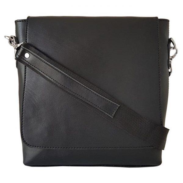 کیف دوشی اسپرت چرم طبیعی مردانه مشکی