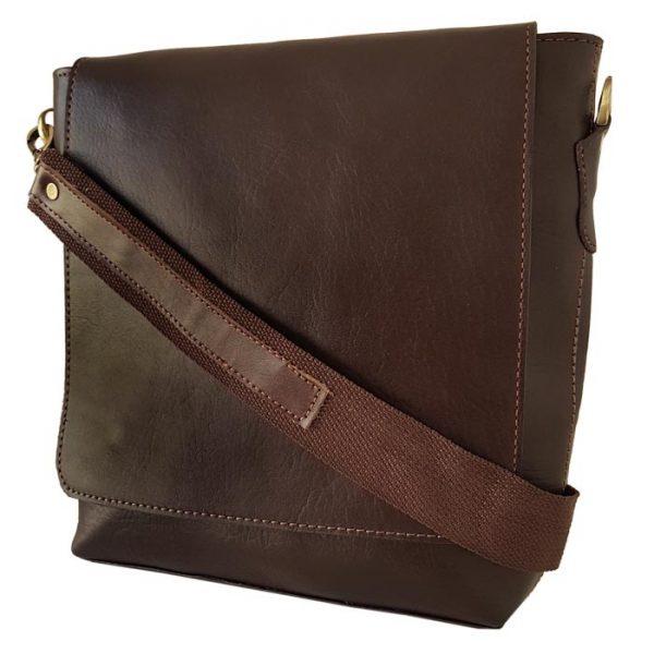 کیف دوشی اسپرت چرم طبیعی مردانه قهوه ای تیره