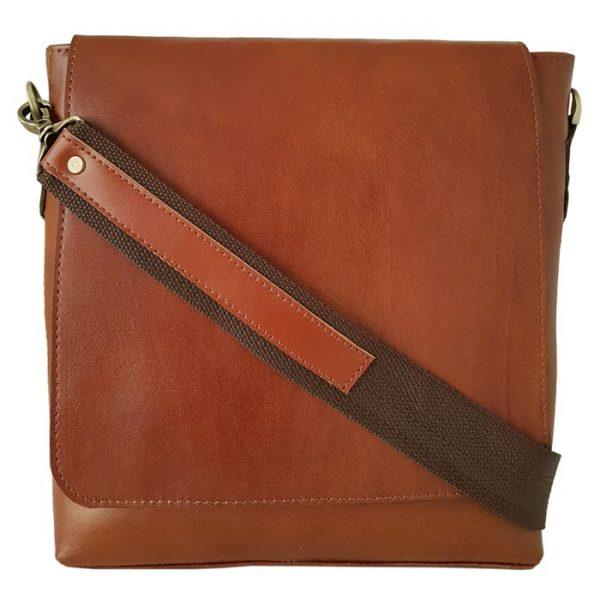 کیف دوشی اسپرت چرم طبیعی مردانه بند کتان