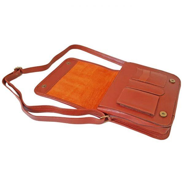 کیف دوشی چرم طبیعی مردانه و زنانه عسلی