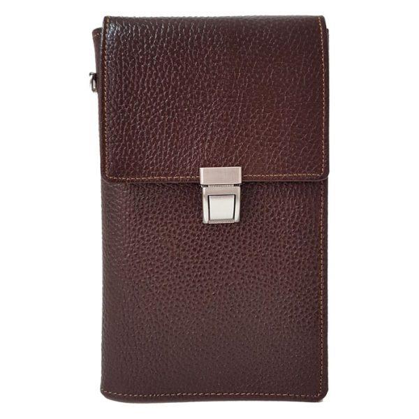 کیف پاسپورتی گردنی قفل دار چرم طبیعی زنانه و مردانه قهوه ای تیره