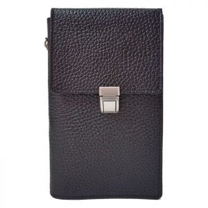 کیف پاسپورتی گردنی قفل دار چرم طبیعی زنانه و مردانه مشکی