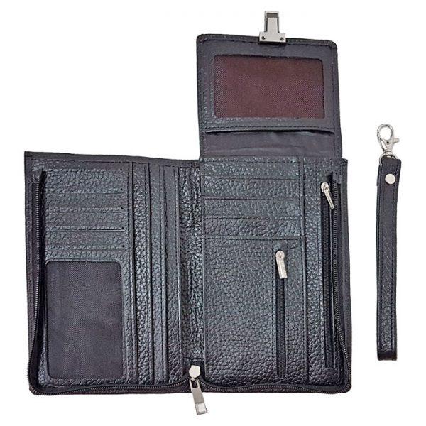 کیف پاسپورتی قفل دار چرم طبیعی زنانه و مردانه اسپرت
