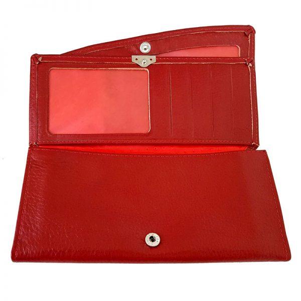 کیف پول چرم طبیعی زنانه چرم بز قرمز