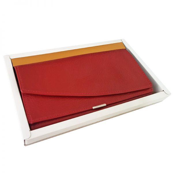 کیف پول چرم زنانه چرم بزی رنگ قرمز