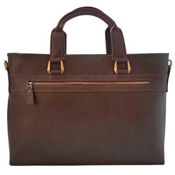کیف اداری چرم طبیعی زنانه مدل دو دسته قهوه ای تیره