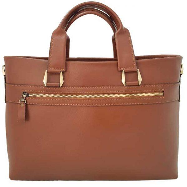 کیف اداری چرم طبیعی زنانه مدل 2 دسته عسلی
