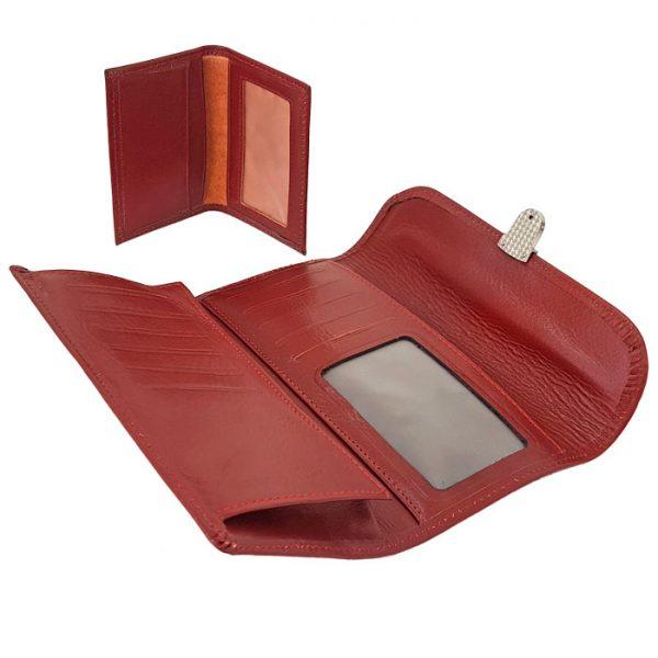 ست کیف پول و جاکارتی چرم طبیعی زنانه قرمز