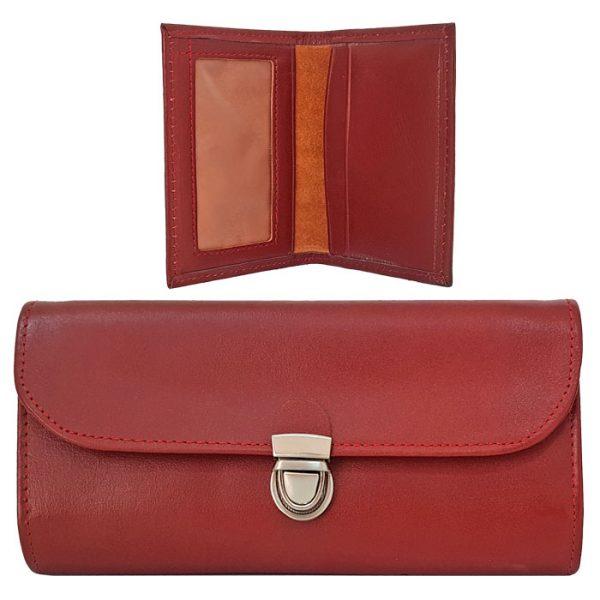 ست کیف پول و جاکارتی قرمز چرم طبیعی زنانه