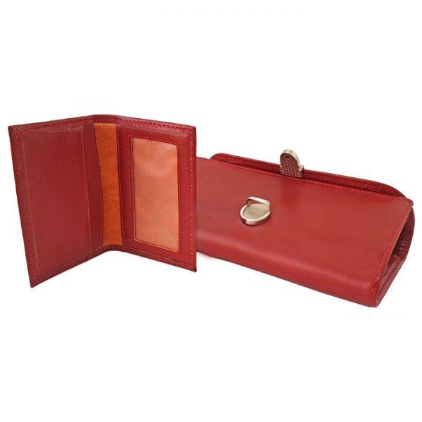 ست کیف پول و جاکارتی قرمز چرمی زنانه