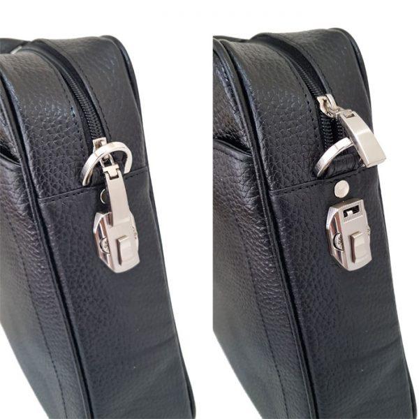 کیف چرم با زیپ قفل دار