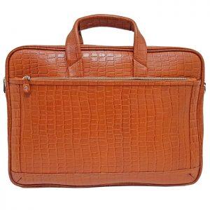 کیف اداری و لپ تاپ چرم طبیعی طرح سنگی عسلی