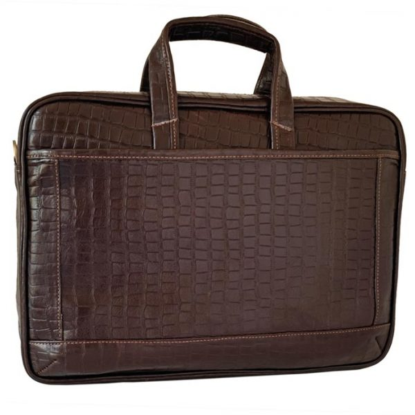 کیف اداری و لپ تاپ چرم طبیعی طرح سنگی قهوه ای تیره