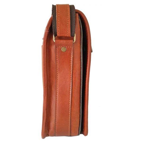 کیف دوشی اسپرت چرم طبیعی مردانه عسلی