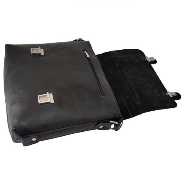 کیف دوشی 2 قفل چرم طبیعی مشکی