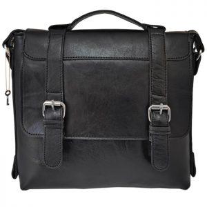 کیف دوشی دو قفل چرمی مشکی